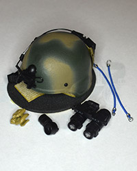 Dam Toys 1st SFOD-D Combat Applications Group: MICH 2000 Helmet  (Camouflaged) With AN/AVS-9 Night Vision Binoculars, Mount With Battery  Pack, Magnetic