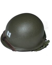 DiD Toys WWII US 2nd Ranger Battalion Captain Miller: M1 Helmet With Liner, Captain's Bars & Ranger Insignia Inscribed (Metal)