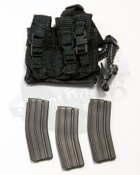 Dam Toys DEA SRT (Special Response Team) Agent El Paso: Drop Leg 3 Compartment Ammo Pouch With 3 Magazines (Black)