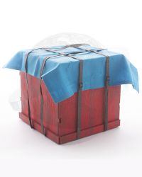 Flagset Eat Chicken Series Doomsday Survivors: Wooden Box (Red), Tarp (Blue) & Straps (Brown)