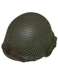 DiD WWII US 2nd Ranger Battalion Private First Class Reiben: M1 Helmet with 2nd Ranger Imprint & Netted Cover (Metal)