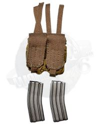 DamToys Operation Red Wings Navy SEALS SDV Team 1 Leader: MLCS Double Pouch With 2 M4 Magazines (Tan)