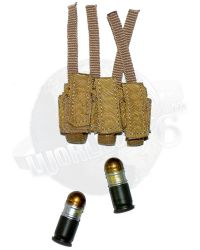 DamToys Operation Red Wings Navy SEALS SDV Team 1 Leader: MLCS Triple Pouch With Two 40MM Grenades (Tan)