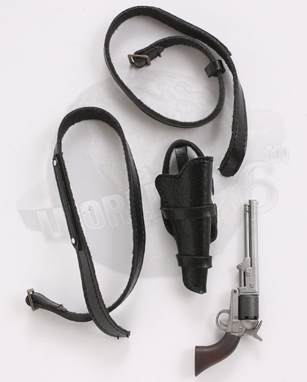 MomToys Cowboy Set: Revolver With Holster & Twin Belt Straps (Black)